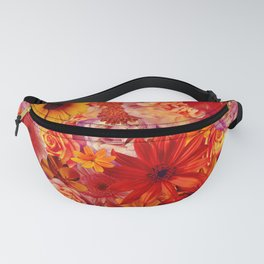 Rojo Bouquet Rich Red Hot Mixed Flowers Bright Floral Autumn Fanny Pack