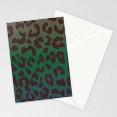 LEOPARD hue-TAUPE GREEN BLUE Stationery Cards