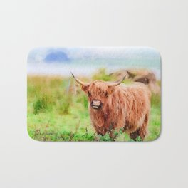 Long haired Highland cattle watercolor Bath Mat