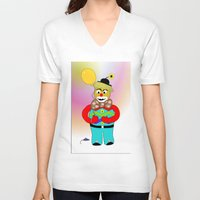 clown V-neck T-shirts featuring Clown by LoRo  Art & Pictures