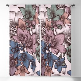 Beautiful pattern design with flowers in vintage style Blackout Curtain
