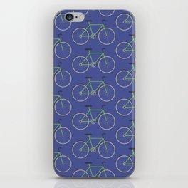Green bikes on blue iPhone Skin