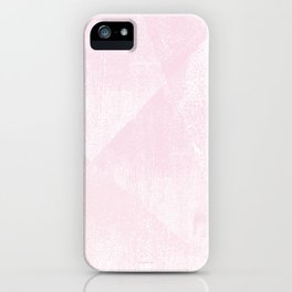 Pastel Pink and White Geometric Lino-Textured Print iPhone Case