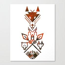Tribal Sign Animals Wolf Bear Fox Canvas Print