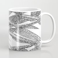 blueprint Mugs featuring Blueprint - monochrome by Etch by Design