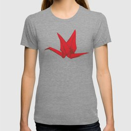 Origami red paper cranes sketch. burgundy maroon line Nature oriental T-shirt
