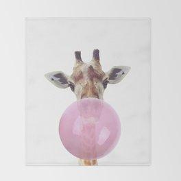 Bubble Gum - Giraffe Throw Blanket