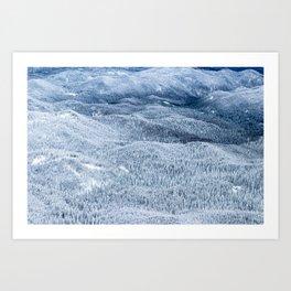 Winter forest under deep snow Art Print