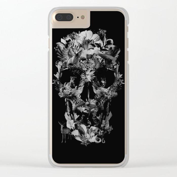 Jungle Skull B&W Clear iPhone Case