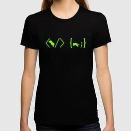Full Stack Dachshund - Front End / Back End Developer Dog Green T-shirt