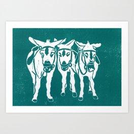 Seaside Donkeys in Turquoise Art Print