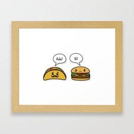 Taco & Hamburger Small Talk Framed Art Print