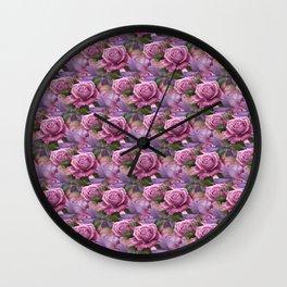 Peach & Purple Roses Wall Clock