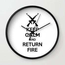 Keep Calm And Return Fire Wall Clock
