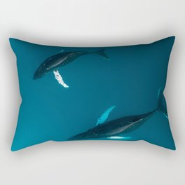 Mother and Child – Humpback Whales in the Ocean – Minimalist Wildlife Photography Rectangular Pillow