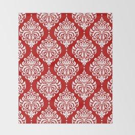 Red Damask Throw Blanket