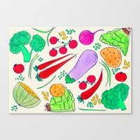 vegetables Canvas Prints featuring Vegetables! by Niche Drawings