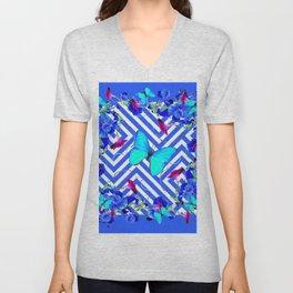 Geometric  Blue Butterflies &  Purple Morning Glories Unisex V-Neck