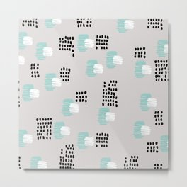 Cubic paint abstract ink pattern design mint Metal Print