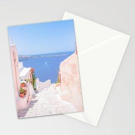 Santorini Greece Mamma Mia pink street travel photography Stationery Cards