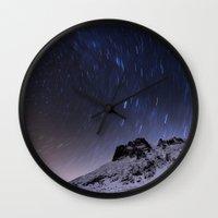 night sky Wall Clocks featuring Night sky by Mila Pechenyakova
