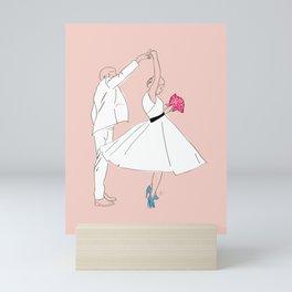Dancing Couple on Pink Mini Art Print