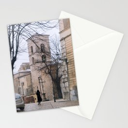 Believe - Snow street of an old Italian town - Fine art travel photography Stationery Cards