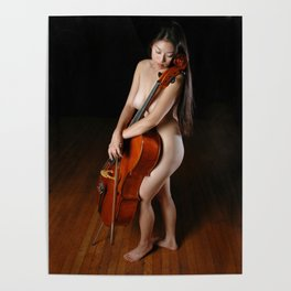 0199-JC Nude Cellist with Her Cello and Bow Naked Young Woman Musician Art Sexy Erotic Sweet Sensual Poster