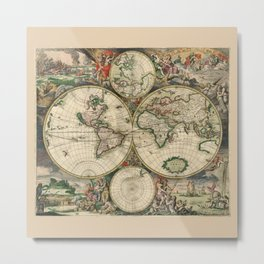 Ancient Map of the World - 1689 Metal Print