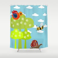 bee Shower Curtains featuring bee by BruxaMagica_susycosta