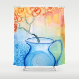 Cherry flowers in the blue jug Shower Curtain