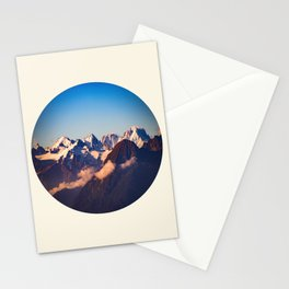 Himalayan Snow Mountains Round Photo Stationery Cards
