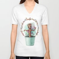groot V-neck T-shirts featuring Baby Groot by Pendientera