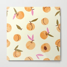Peaches watercolor vintage illustration pattern Metal Print