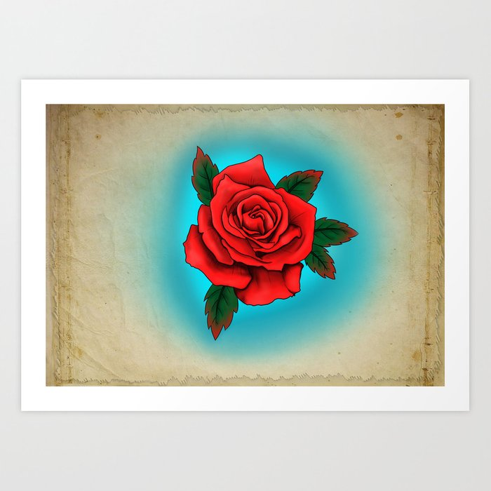 Red Rose Tattoo Flash Art Print By Rebeccasmethurstsart