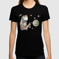 space graffiti MEDIUM Womens Fitted Tee Black