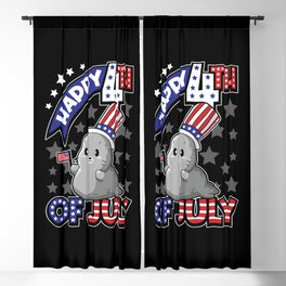 Happy Fourth Of July - Seal USA Flag Blackout Curtain