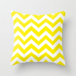 Canary yellow - yellow color - Zigzag Chevron Pattern Throw Pillow