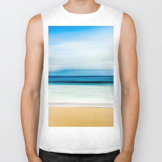 Peaceful ocean waves Biker Tank