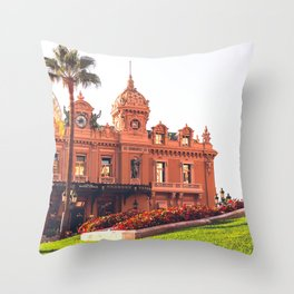 Place du Casino Municipale de Montecarlo in the Principality of Monaco Throw Pillow
