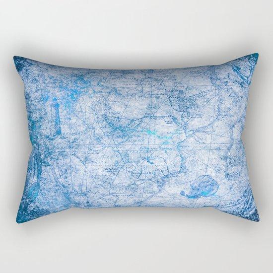 Blue Shimmer Map Design Rectangular Pillow
