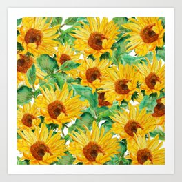 sunflower pattern Art Print