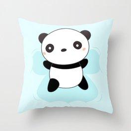 Kawaii Panda Snow Angel Throw Pillow