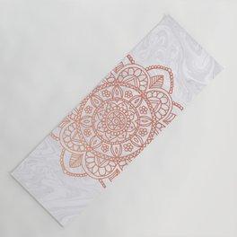 Rose Gold Mandala on White Marble Yoga Mat