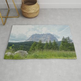 Mountain Peak Fir tree Forest Alpine Landscape Rug
