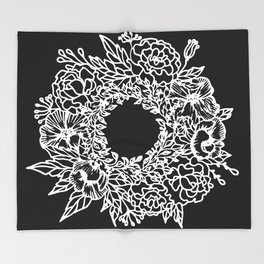 White Linocut Flowery Wreath On Black Throw Blanket
