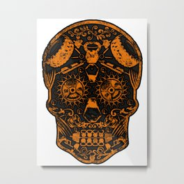 Strongman Sugar Skull, Dia De Los Deadlift Metal Print
