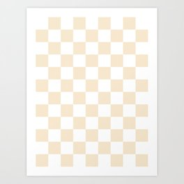 Checkered - White and Champagne Orange Art Print