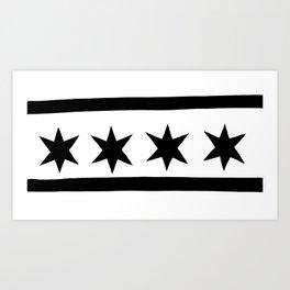 chicago flag black and white Art Print