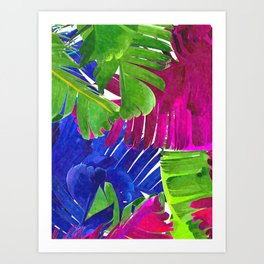 Colorful tropical leaves Art Print